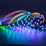 Mokungit 3.2Ft 1M 60leds Programmable RGB WS2812B Smart led pixel strip,White PCB,60 leds/m WS2812 IC;60 pixels 60pixels/m,Flexible Individually Addressable Dream Color,IP20 Non-waterproof DC5V