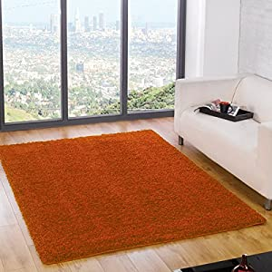 Flair Rugs Nordic Cariboo Shaggy Rug, Orange, 120 x 170 Cm from Flair Rugs