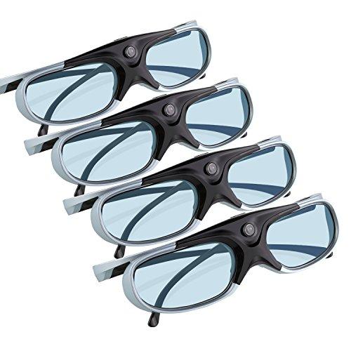 3D Glasses,APEMAN Lunettes 3D Série DLP Design léger Réchargeable 3D Glasses VR Luminance et Contraste Violente Compatible avec tous les Vidéoprojecteurs DLP 3D (4 Paires)