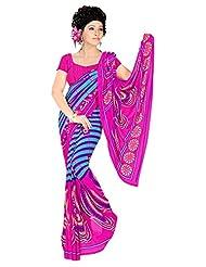 Pink Sky Blue Party Wear Saree Printed Designer Faux Georgette Sari