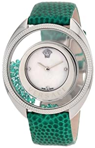 Versace Women's 86Q961MD497 S455 Destiny Precious Genuine Lizard Mother-Of-Pearl Diamond 70-Emerald Watch from Versace