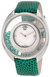Versace Women's 86Q961MD497 S455 Destiny Precious Genuine Lizard Mother-Of-Pearl Diamond 70-Emerald Watch