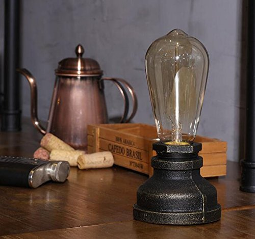 Injuicy Lighting Loft Vintage Industrial Wrought Iron E27 Edison Steampunk Water Pipe Desk Accent Lamps Antique Retro Piping Metal Table Lights Base for Bedroom Bedside Living Rooms Cafe Bar Decor