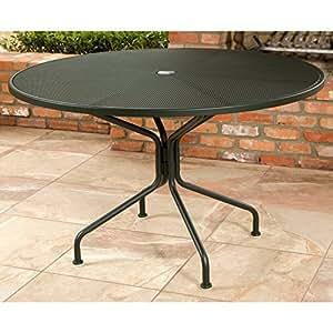 Woodard Micro Mesh Wrought Iron 48 Round Umbrella Table 8 Spok