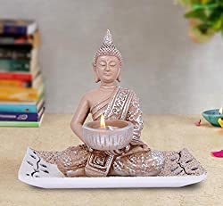 TiedRibbons Buddha TeaLight Holder with Tray Set
