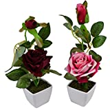 Thefancymart Set Of 2 Piece Artifical Rose Plants With Pots Style Code -12