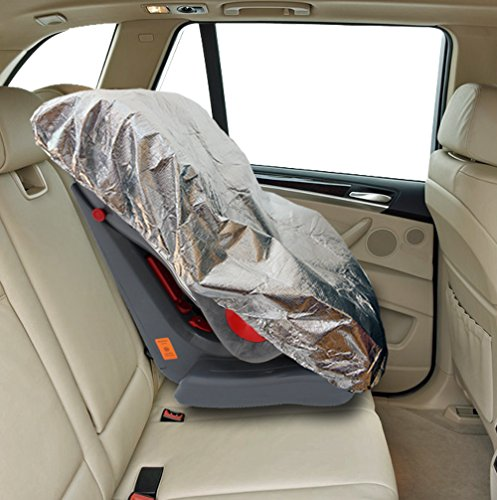 Car Seat Sunshade by Freddie and Sebbie - Luxury Car Seat Shade Designed To Cool And Protect Your Baby, Infant or Child's Car Seat - Prefect Protector Seat Cover From The Burning Sun - 1