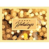 """Christmas Holiday Greeting Card H6025. Bright yellow lights enhance the """"Happy Holidays"""" message. For personal or business use; gold foil-lined envelopes."""