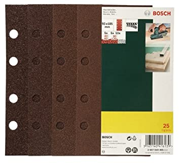 Bosch 2607019495 Lot de feuilles abrasives pour Ponceuse vibrante 8 trous 93 x 185 mm Grain 40-120 25 pi/Ã/¨ces