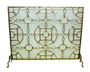 Equestrian Lodge Single Panel Flat Fireplace Screen Home Kitchen