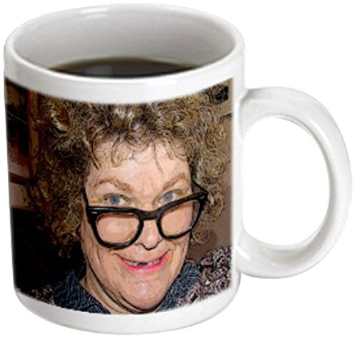 3dRose mug_52578_3 A Curly Haired Toothless Costume on a Woman for Halloween with Big Nerdy Black Glasses Magic Transforming Mug, 11-Ounce
