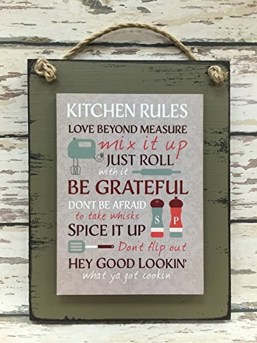 KITCHEN RULES SIGN Wood Wall Hanging Distressed Reclaimed