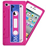 IGloo Premium: Retro Cassette Tape Silicone Skin Case Cover for Apple iPhone 4 / 4G / 4S - Pink