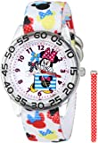 Disney Kids' W001179 Interchangeable Strap Minnie Mouse Plastic Stretch Nylon Watch Set