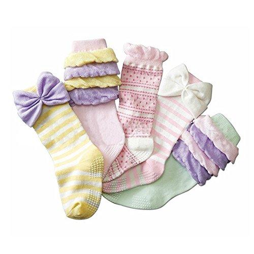 Deer Mum 5 Pairs Girl'S Princess Style Knee High Socks (Pack 5)-Multicolor3 front-815392