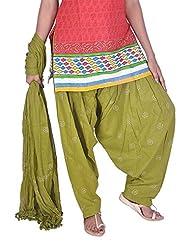 Womens Cottage Mehandi Green Rogan Printed Cotton Semi Patiala & Cotton Dupatta With Pom Pom Lace Set