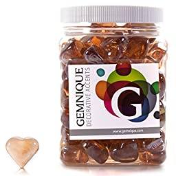 Gemnique Decorative Glass Shapes - Hearts (Peach Luster, 48 oz.)