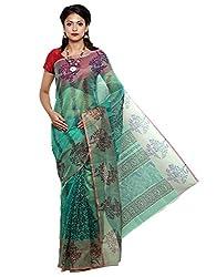 Unnati Silks Women green color supernet saree