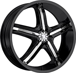 MILANNI – 459 bel-air 5 – 18 Inch Rim x 7.5 – (5×4.25/5×4.5) Offset (38) Wheel Finish – gloss black with chrome inserts