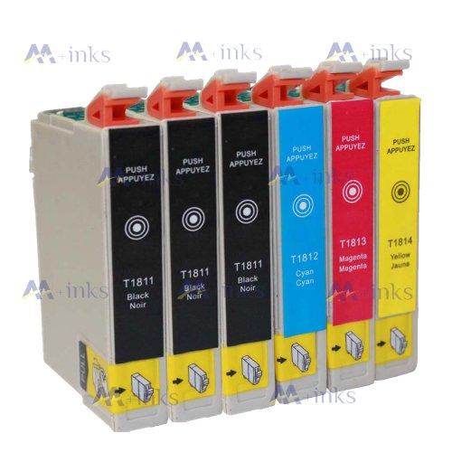6 Druckerpatronen XP305 XP 305 XP-305 XP315 XP 315 XP-315 Kompatibel für Epson T1811 T1812 T1813 T1814 Tintenpatronen für Expression Home XP-305 drucker patronen (3x Schwarz 1x Blau 1x Rot 1x Gelb) -mit CHIP