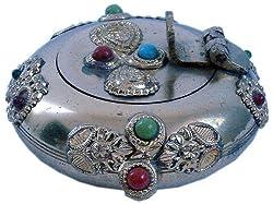 Little India Gemstone Handicraft Ash Tray (Brass,HCF172)
