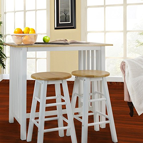 Casual Home 3-Piece Breakfast Set with Solid American Hardwood Top, White (White Pub Table compare prices)