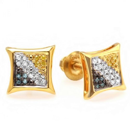 0.10 Carat (ctw) 18K Yellow Gold Plated Sterling Silver Blue, White & Yellow Round Diamond Micro Pave Setting Kite Shape Stud Earrings