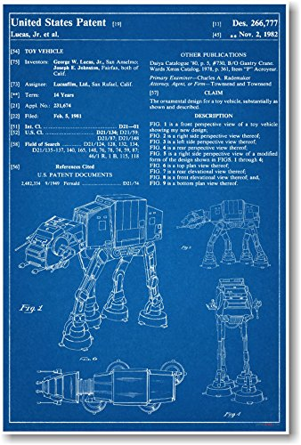 Buy three awesome star wars blueprint style poster art star wars at at patent new famous invention blueprint poster malvernweather Images