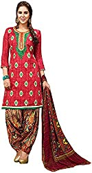 Begum Riwaaz Women's Georgette Unstitched Dress Material (18003A, Red)