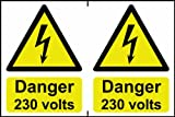 Danger 230 volts sign 1mm rigid PVC self adhesive backing 300 x 200mm
