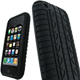 IGadgitz Black Silicone Skin Case Cover with Tyre Tread Design for Apple iPhone 3G & New 3GS 8GB, 16GB & 32GB + Screen Protector