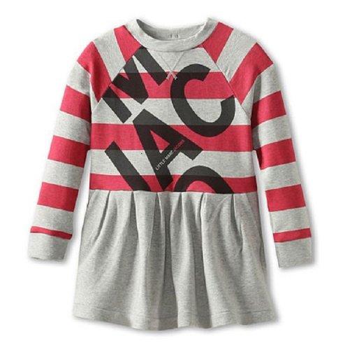Little Marc Jacobs Striped Fleece Block Letter Dress In Grey-4