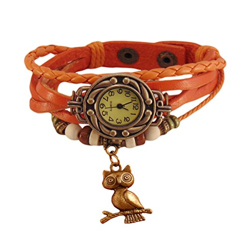 Habors Multiband Watch Orange Bracelet With Owl Charm
