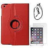 DMG Full 360 Rotating Cover Case For Apple Ipad Mini 3 (Red) + Black Earphones + Matte Screen