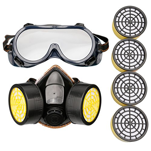 A-szcxtop Dual Cartridge Respirator Anti Formaldehyde Pesticide Dust Industrial Chemical Gas Mask Half Mask with Goggle and 4 Filters Box (Chemical Gas Mask compare prices)