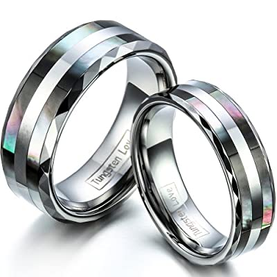 JewelryWe Matching Comfort Fit Tungsten Wedding Rings With Double Shell Inlay 8mm His & 6mm Hers Set Aniversary/Engagement/Wedding Bands. Please Email Sizes (One Pair)