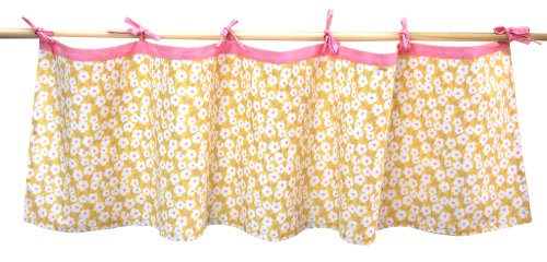 Tadpoles Field of Flowers Tie-Top Window Valance in Yellow and Pink