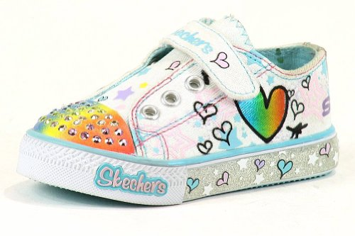Skechers Toddler Girl'S Twinkle Toes Party Timez Fashion Light Up Sneaker Shoes (6 - Months, White Multi) front-1021912