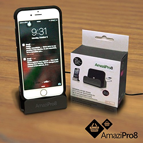 AmaziPro8 iPhone Charger Docking Station+ Stylus + Dust Plug + 5 ebooks, Best USB Lightning Cable, Charge Sync Stand, Cradle Charging Dock Stations for Apple 6 Plus 6s Plus 6 6s 5 5S 5C