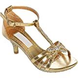 Little Girl 9 to Youth 4 Pageant T-Strap Heel Girl's Shoe with Rhinestones