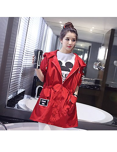 CU@EY Impermeabile Da donna Per uscire Primavera / Autunno Semplice,Tinta unita Colletto alla Peter Pan Poliestere Rosso Maniche a ŸMedio , red , l
