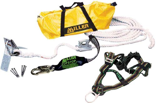 Miller by Honeywell RA20-25/XXL/25FTU 25-Feet Reusable Roofing Fall Protection Anchor Kit with Hardware and XX-Large Harness miller titan by honeywell ac qc xsbl aircore full body harness x small blue