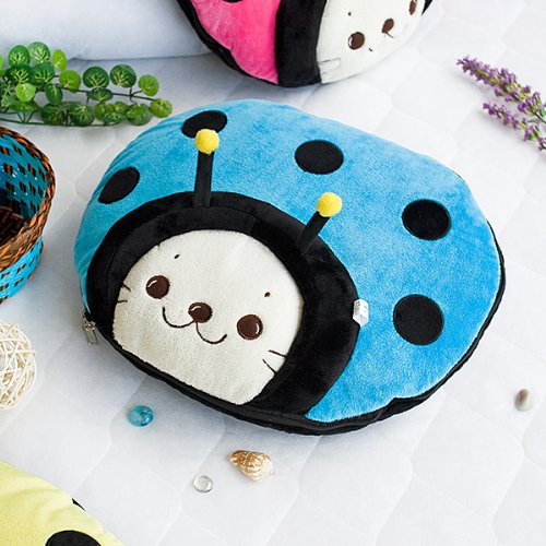 [Sirotan - Ladybug Blue] Blanket Pillow Cushion / Travel Pillow Blanket (39.4 by 59.1 inches)