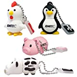 Emtec Animal USB 4GB Flash Drive Set: Cow/ Pig/ Chicken/ Penguin
