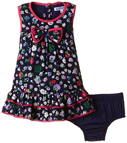 Nauti Nati Baby Girls' Dress (NSS15-158_White and Navy_12 - 18 months)