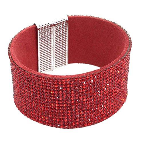 Braccialetto strass cristalli chiusura a calamita alla moda rosso