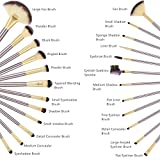 BESTOPE 24PCs Professional Makeup Brushes Synthetic Kakubi Cosmetic Mac Makeup Brush Set with Leather Traverl Pouch Bag Case