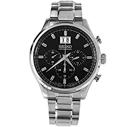 Seiko Chronograph Black Dial Mens Watch - spc083p1