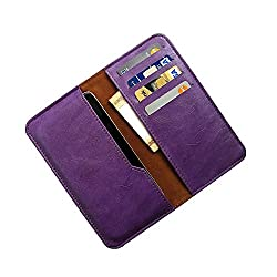i-KitPit : PU Leather Wallet Flip Pouch Case For Micromax Doodle 3 A102 (PURPLE)