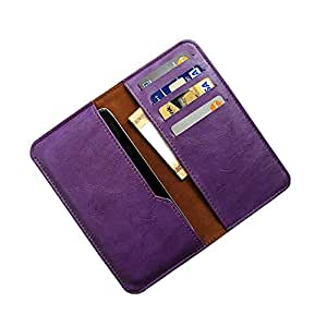 i-KitPit : PU Leather Wallet Flip Pouch Case For Intex Aqua i6 (PURPLE)
